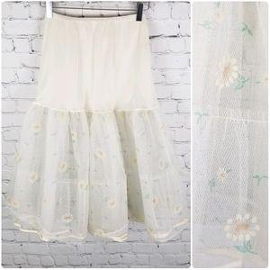 VINTAGE   floral 3 layer crinoline petticoat